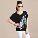 Women's Zebra Print Cutwork Loose T-Shirt