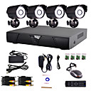 4 Channel casa e sistema DVR CCTV Escritório (P2P online, 4 Camera Outdoor)