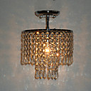 60W Modern Semi Flush Ceiling Light with Crystal Pendants and Polished Chrome Plate