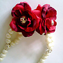 Women's Solid Red Flower Imitatie parel armband