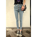 Women's Denim High Waist Four Buttons Skinny Pants