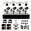 8 Channel DIY CCTV System with 4 Indoor Dome Cameras and 4 Waterproof Camera for Home & Office