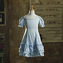 Short Sleeve Knee-length Baby Blue Cotton Kids Lolita Dress