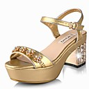 Elegant Leatherette Chunky Heel Sandals With Rhinestone Party/Evening Shoes