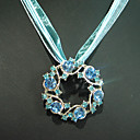 Charming flower Blue Crystal Pendant with Lace Neckalace (Qty: 24) Freeshipping (HLD011)